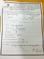 Phiếu phản hồi khách hàng tour ngày 4 tháng 9