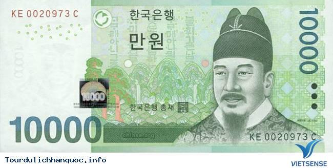 Hình ảnh của vị vua nhân từ trên tờ 10.000 won